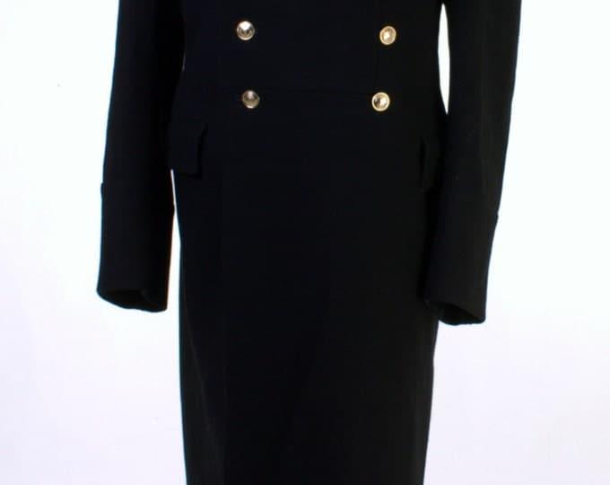 Singles Day SALE! USED USSR Russian Navy Uniform Black Overcoat Wool Coat 50-4 M Goth Steampunk