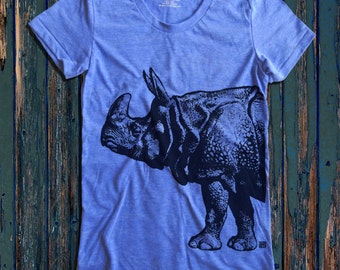 Rhino graphic print Women's  Round Neck T-Shirt