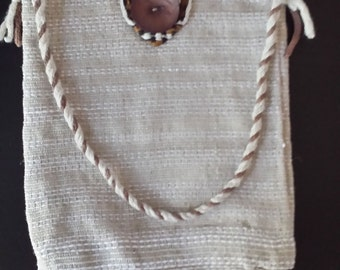 Handwoven Linen & Cotton Purse with Lining and Alpaca Closure!