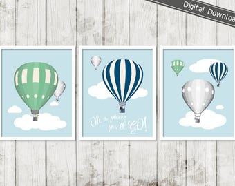 Hot Air Balloon Art, Digital Download, Oh the Places You'll Go, Boy's Bedroom Decor, Adventure Quote, Vintage Nursery, Navy Green Decor