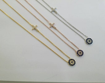 Evil eye chain necklace with cross in silver and cz
