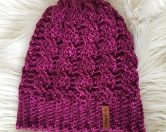 Ready to ship // pink cabled slouchy beanie, cabled crochet hat, slouchy knit hat, slouchy hat, slouchy hat crochet, womens toboggan