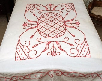Vintage Hand Tufted Chenille Bedspread, Candlewicking, Handmade Full Spread, Pink & Rose, Muslin Base, 1930s Bedspread, Art Deco Tulips