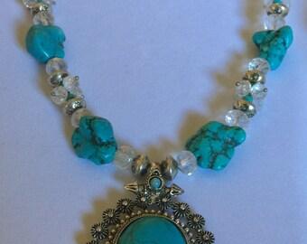 Tibetan Silver & Turquoise Pendant Necklace