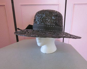 1960s Wide-Brimmed Black Cellophane Straw Hat