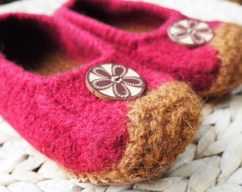 Scarlet Felted Eco Slippers
