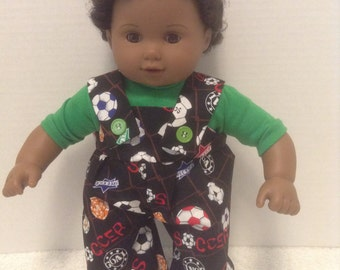 """Soccer Coverall Outfit - Fits 15"""" Bitty Baby and all other 15"""" Dolls"""