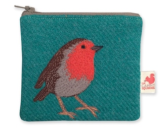 Robin purse, teal, Harris Tweed, coin purse