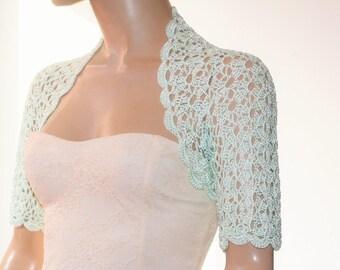 Wedding Bridal Bolero Shrug Lace Crochet Shrug Boleros Green Silk
