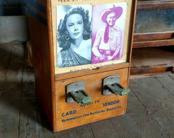 Metropolitan Coin Machine Novelty Card Dispenser Movie Actors Western Cowboys Hollywood