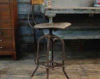 Toledo Steel adjustable machinist stool for drafting tables bars or desk industrial design w/ back & Industrial bar stool   Etsy islam-shia.org