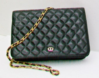 Vintage JAY HERBERT Black Quilted Lambskin Leather Handbag Long Chain Strap Pre-Owned Clutch Purse Timeless Classic Fashion Accessory Bag