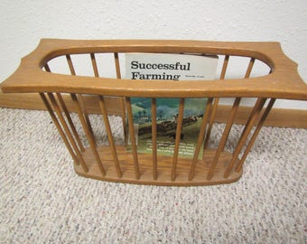 Oak Magazine  Rack , Wood magazine Stand , wood magazine holder,  mid century furniture : Fargo Panel Co.