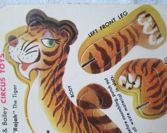 """Vintage Ringling Bros. and Barnum & Bailey Circus Toys, """"Rajah"""" The Tiger Punch Out Card, 1950s"""