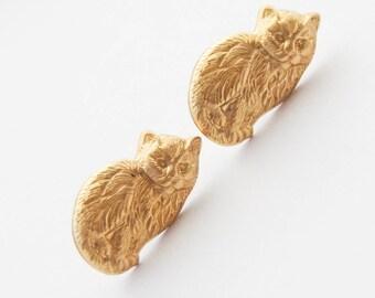 Persian Cat Earrings, Cat Stud Earrings, Gold Cat Earrings, Cat Jewelry, Cat Lady Gifts, Kitten Earrings, Vintage Cat Earrings