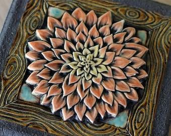 Mosaic Stepping Stone with Dahlia Flower Garden Ceramic Art Tile Paver