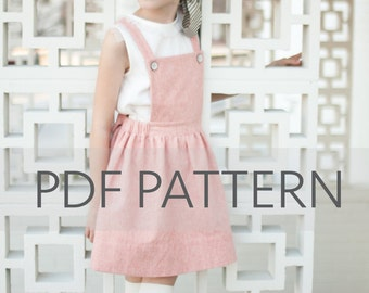 Macy Pinafore PDF, suspender skirt pdf, Easter PDF,pinny pattern, tween pinafore, sewing patterns, girl patterns, toddler pdf, kids patterns