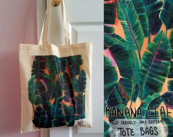 Banana Leaf 100% Cotton Tote Bag - Design on both Sides - Eco Friendly - Reusable