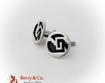 Round Abstract Cut Work Pattern Cufflinks Sterling Silver Mexico