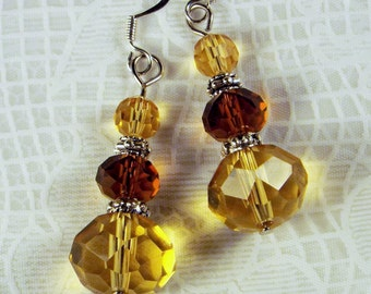 "Cynthia Lynn ""HEIRLOOM JEWELS"" Faux Golden Topaz Silver Glass Crystal Drop Earrings"