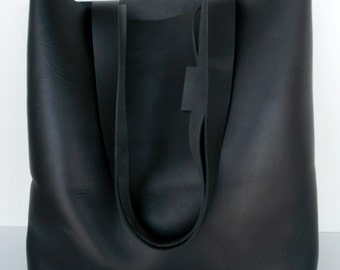 Black Leather Tote Bag ,  Leather Tote ,   Black Leather Bag,   Black leather tote,  RWOODB Leather Tote