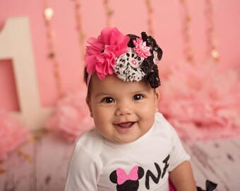 Minnie Mouse Headband/Birthday Headband/Infant Headband/Baby Headband/Newborn Headband/Toddler Headband/Girls Headband/Baby Headwear