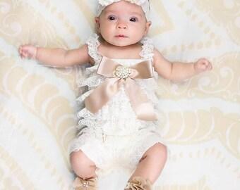 Ivory Lace Romper~Baby Lace Romper~Baby Romper~Petti Lace Romper~Romper~Smash Cake Set~First Birthday Outfit~Lace Romper~Petti Romper~