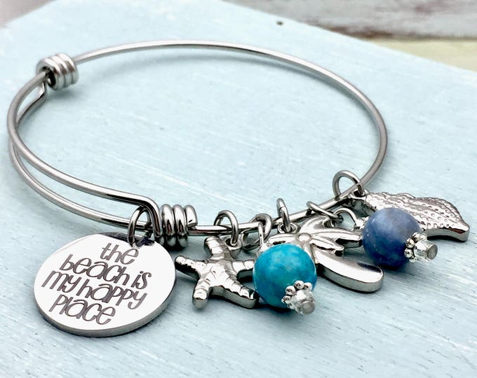 Beach is my Happy Place Adjustable Bangle Charm Bracelet