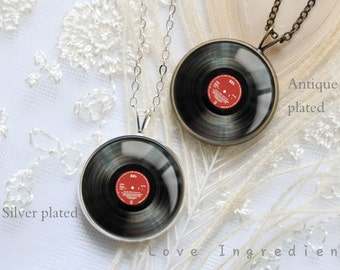 Vinyl Record Necklace DJ necklace Music necklace, Boyfriend gift, Music lovers gift, gifts groomsmen cufflinks father cufflinks gift for him
