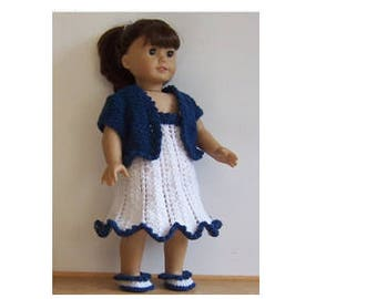"Dolls Clothes PDF knitting pattern for 18"" to 19"" doll, for American Girl Gotz, Our generation and similar size dolls."