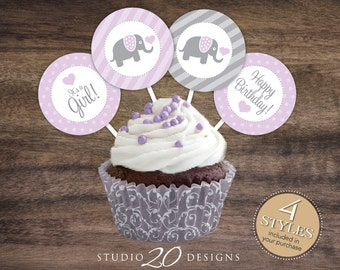 """Instant Download 2"""" Elephant Lilac Elephant Cupcake Toppers, Printable Elephant Baby Shower Cupcake Toppers, It's A Girl Shower Toppers 22E"""