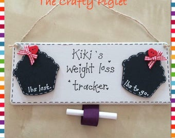 Weight loss cupcake chalkboard plaque
