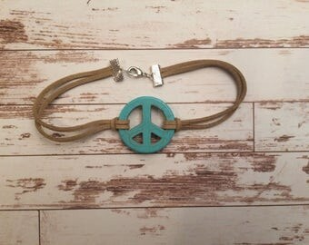 Blue Green Peace Sign on Leather Anklet