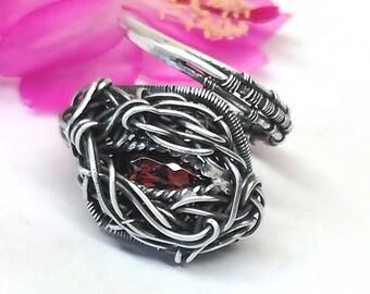Garnet rings, silver rings,wire wrap,sterling silver