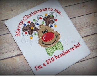 Big brother Christmas shirt, big bro holiday shirt, big sister Christmas shirt, Pregnancy announcement shirt, big sis shirt, reindeer