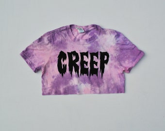 Creep Pastel Goth Cute Pink Tie Dye Crop Top Hipster Indie Swag Dope Hype Mens Womens Kawaii Crescent Moon Gothic