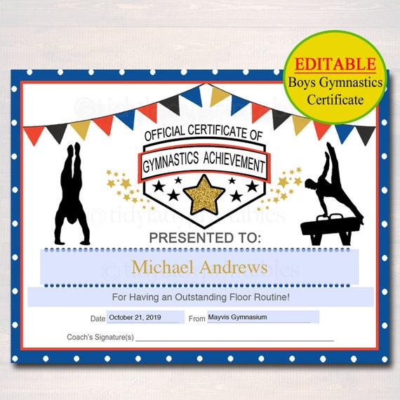 gymnastics certificates editable certificate printable instant gymnast awards