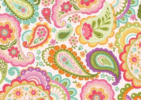 Floral paisley fabric by the yard cotton flower quilt for Floral nursery fabric