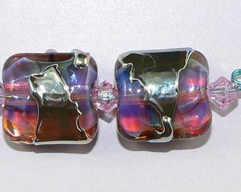 Handmade Lampwork Glass beads Earring Pair in PURPLE GOLD Silver Glass SRA
