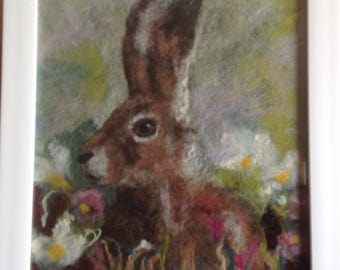 Wool picture of hare.