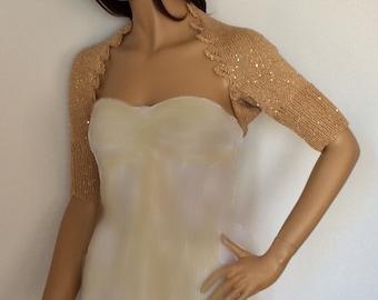Prom Dress Topper, Prom Bolero, Formal Shrug, Gold Bolero, Prom Separates, Prom Shrug, Prom Cover Up