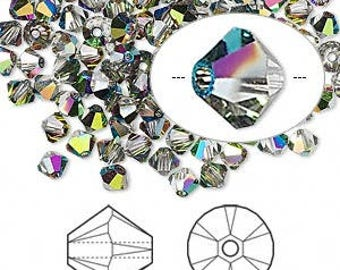 Crystal Vitrail Medium~4 mm Xillion Bicone (5328) Genuine Swarovski crystals. (24 pc)