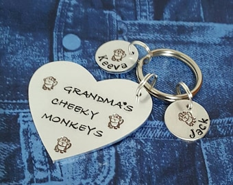 Grandma's cheeky monkeys  handstamped keyring can be personalised with Mummy mum Grandma Aunty great Christmas stocking filler mothers day