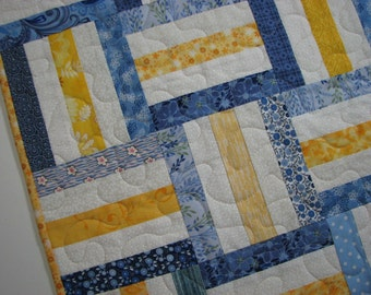 """Spring Quilted Table Topper, Shabby Cottage Chic Table Mat, Blue and Yellow Scrappy Table Topper, 25.75""""x25.75"""", Quiltsy Handmade"""