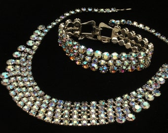 Necklace Bracelet Set Vintage AB Aurora Borealis Rhinestones