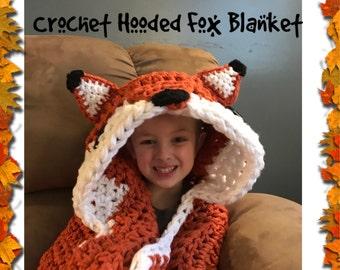 Hooded Fox Blanket, Crochet Blanket, Pre Order, Hand Made, Custom Order, Sizes Toddler-XL Adult