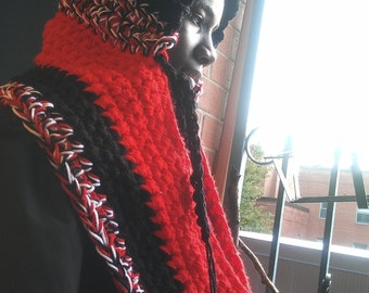 Based in NYC - Trinidad Just for You this Beautiful Colored Handmade Custom Made  Crocheted Infinity Scarf with Invisible Pocket and Hood