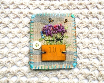 Textile Flower Pin with Vintage measure