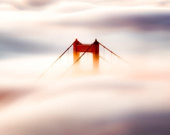San Francisco Fog Print - Golden Gate Bridge Photo of the San Francisco Fog - Beautiful Art and Home Decoration - White, Red, Pink