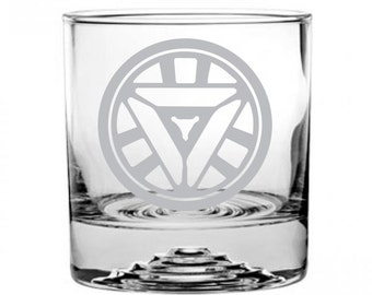 Iron Man Etched Rocks Glass Personalized